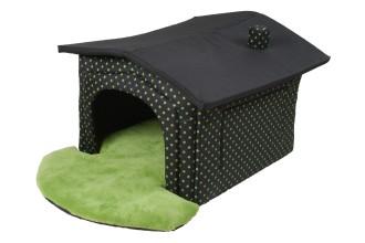 Luxusní Bouda Dotty 52 x 60 cm, bouda pro psy, DOPRAVA ZDARMA ! D101, černá se zelenými puntíky