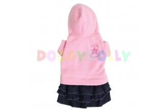 Obleček Doggydolly růžový fleece se sukní