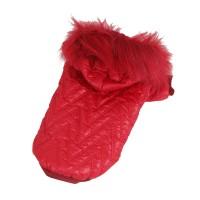 Luxusní prošívaná bunda pro psy - červená