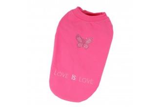 Mikina pro psy bavlněná, vykládaná luxusními kamínky - motiv motýl - růžová (doprodej skladových zásob)
