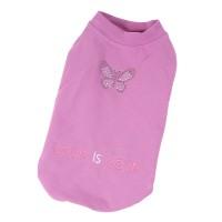 Mikina pro psy bavlněná, vykládaná luxusními kamínky - motiv motýl - fialová (doprodej skladových zásob)