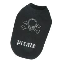 Mikina bavlněná pro psy, luxusní štrasová pirátská lebka - černá